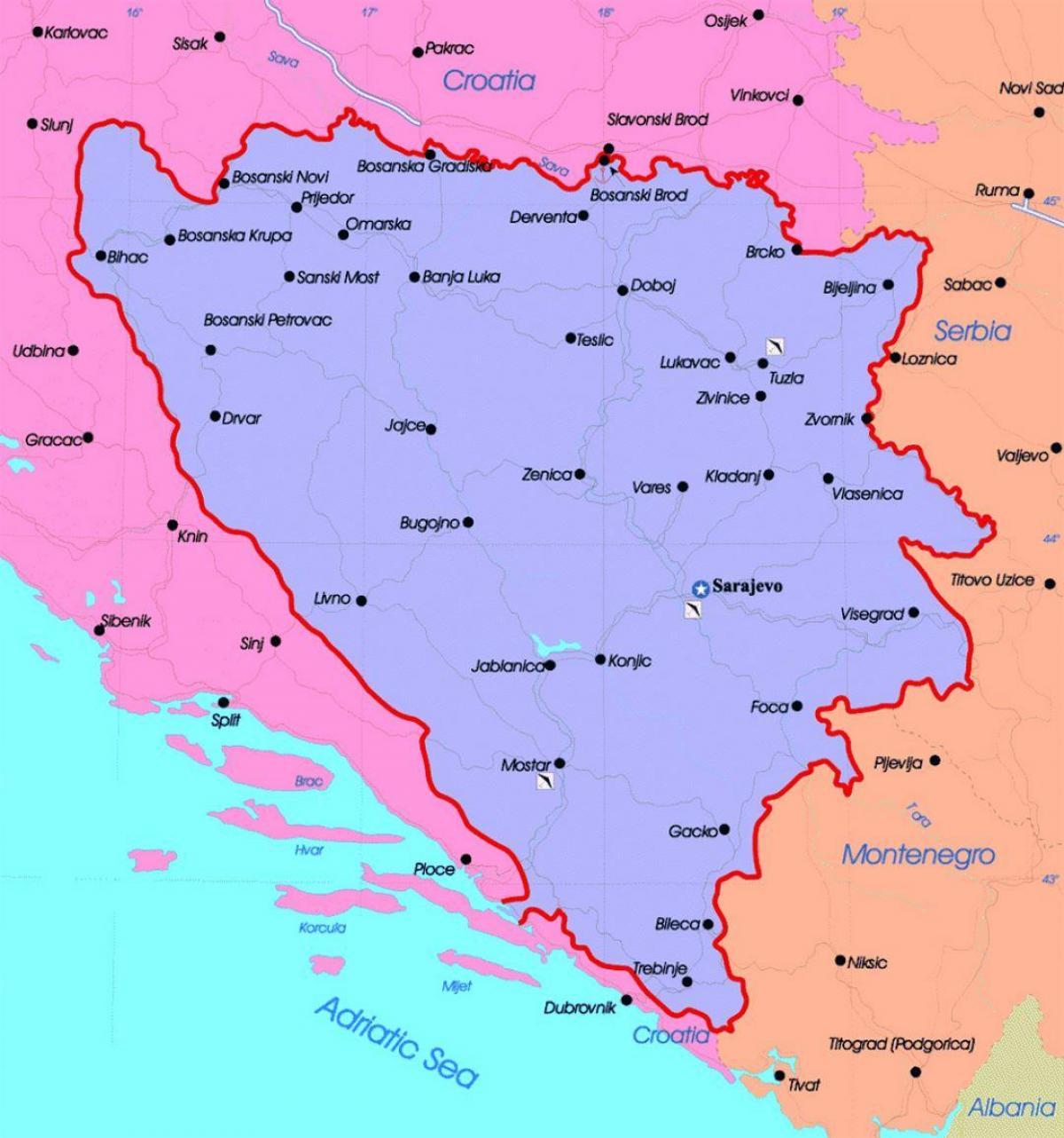 Bosnia Mapa Politic Bosnia I Hercegovina Mapa Politic Sud D